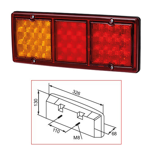 Bak-/broms-/blinklykta LED 9-36V 326 x 130 mm
