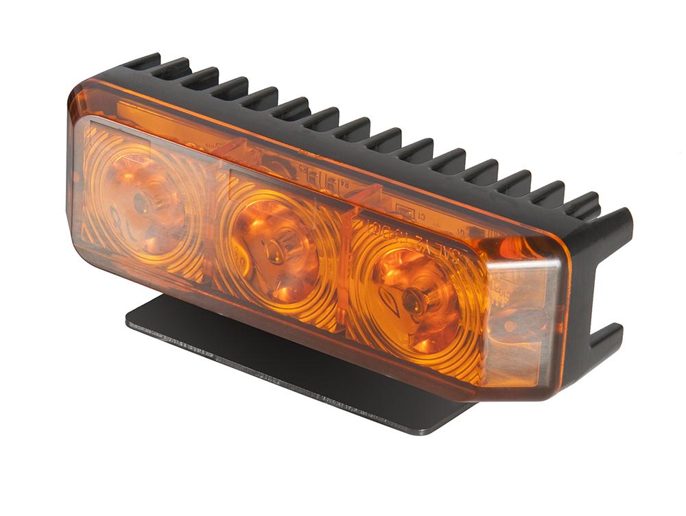 Blixtljus Orange LED med orange lins, monteringsbygel