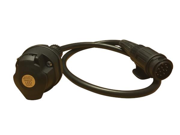 Adapter 13-13 pol för släp med LED
