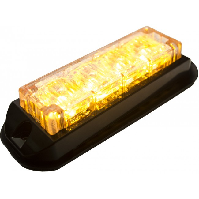 Blixtljus 4 LED x 3W orange (Låg profil, E-märkt)
