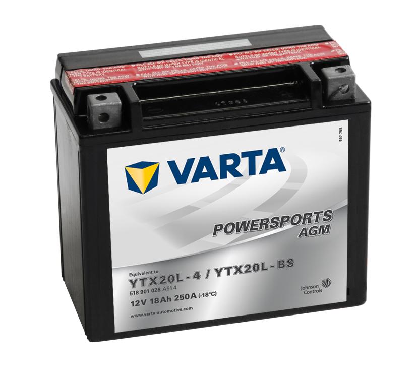 Batteri YTX20L-BS - 18Ah