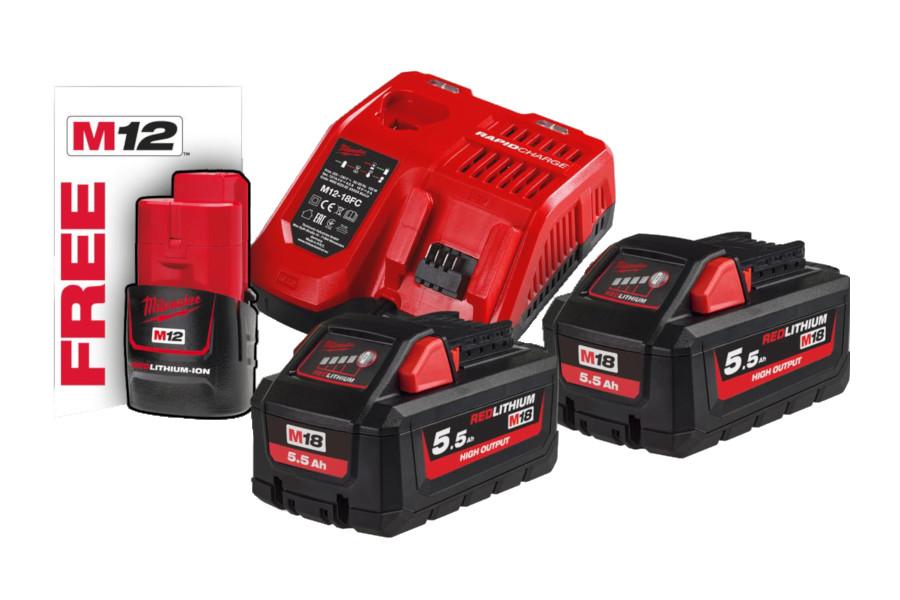 Batterikit M18™ 2st 5,5Ah Batterier & laddare