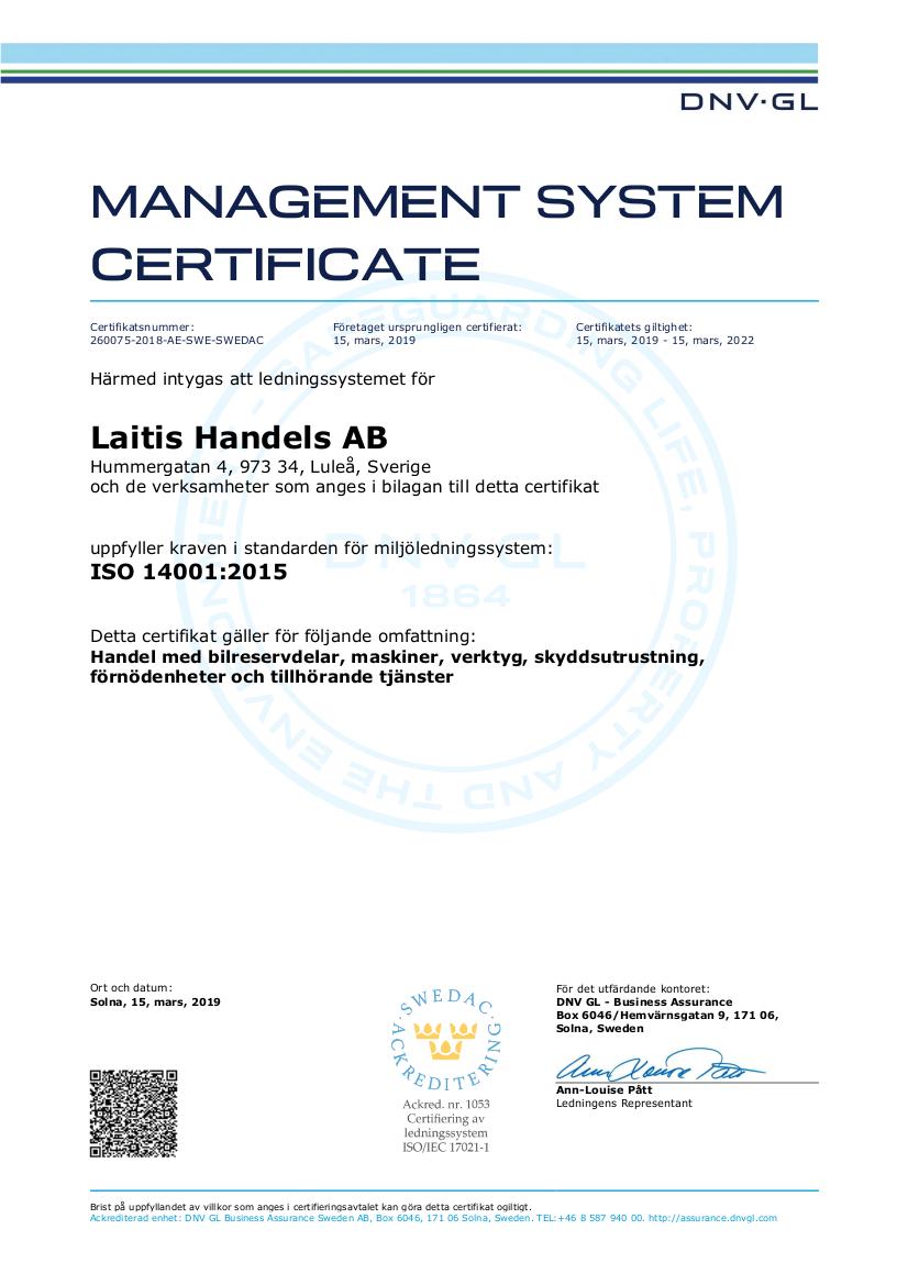 Laitis ISO 14001:2015